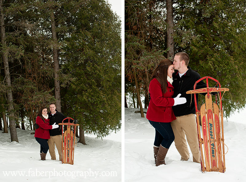Kewaskum Wisconsin Snow Engagement Photos